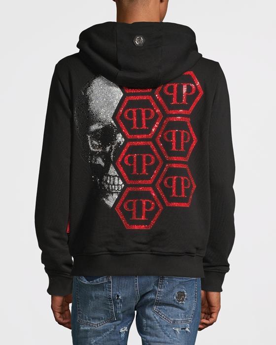 Back Skull Hoodie med dragkedja Svart/Röd