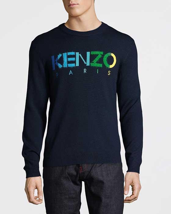 Kenzo Stickad Tröja Marinblå